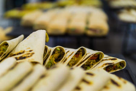 tortilla with filling on a tray for catering Reklamní fotografie