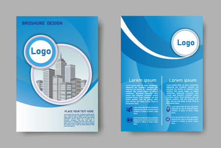 Blue cover design depicting a city on a white background in the shape of a circle. Abstract geometric background of smooth rounded lines. Design can be used for poster, flyer, background, page.