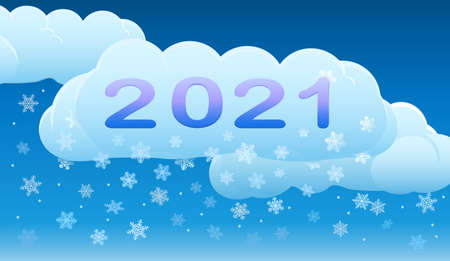 New year's night. Clouds move peacefully across the sky, and snowflakes quietly fall.