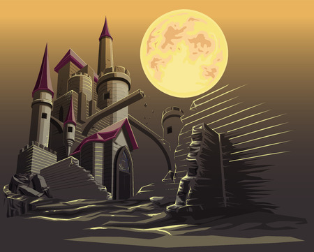 Castle in the dark night. Illustration