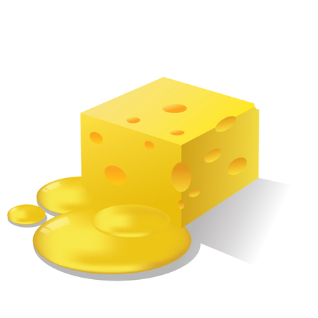 Vector isolated cheese on white background.  イラスト・ベクター素材