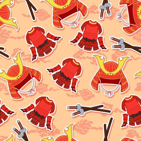 Seamless samurai armor pattern. Illustration