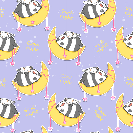 Seamless panda and cat are sleeping on the moon pattern.
