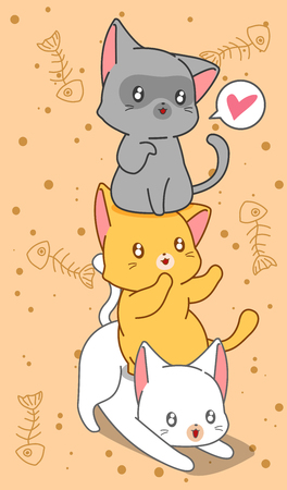 3 little cats in cartoon style.  イラスト・ベクター素材