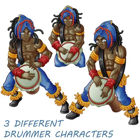 3 drummer characters. Standard-Bild - 122756642