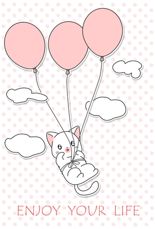 Little cat is flying.