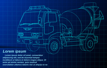 cement truck wireframe.