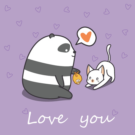 Panda is feeding cat in cartoon style.