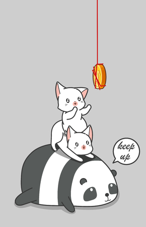 Panda and 2 cats are catching coin.