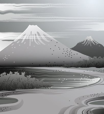 Landscape in Japanese ink style.