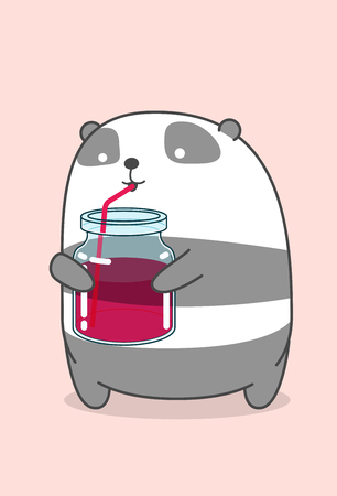 Panda is drinking soft drink. Ilustrace