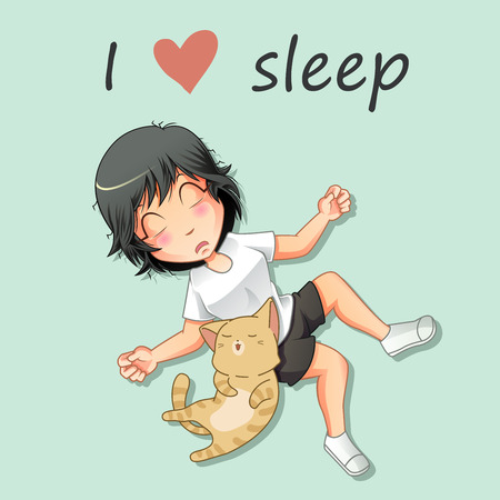 Girl and cat are sleeping.