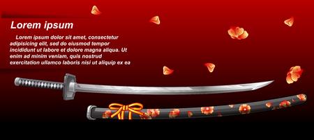 Japanese sword. Illustration