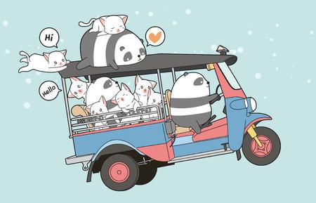 Drawn kawaii cats and panda on motor tricycle 向量圖像