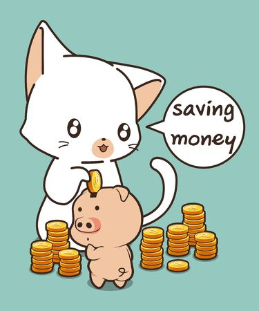 Kawaii cat is saving coins via a piggy bank Ilustração