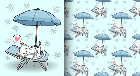 Seamless cute cat on cradle with a outdoor umbrella pattern 일러스트