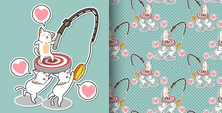 Seamless cat characters are moving their goal pattern Stock Illustratie