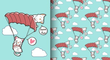 Seamless cute cats are flying with parachute pattern