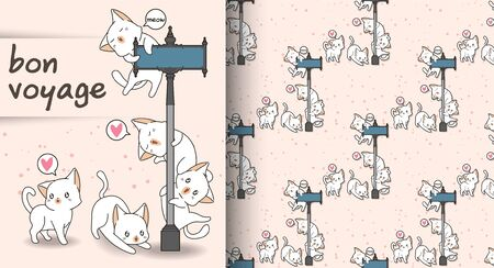 Seamless Cute cats and guidepost pattern