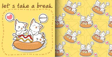 Seamless Cute cat in a hotdog and friends pattern 일러스트