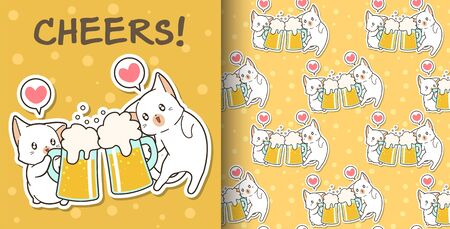 Seamless Cute cats are drinking pattern 写真素材 - 130040822