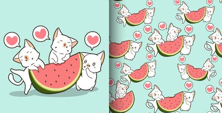 Seamless Cute cats in and watermelon pattern 向量圖像