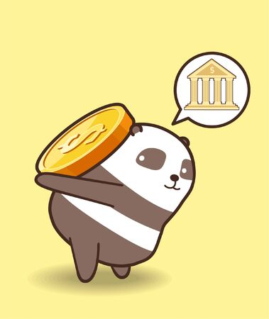 Adorable panda character is lifting a coin