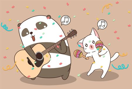 Cute panda and cat are playing music instrument