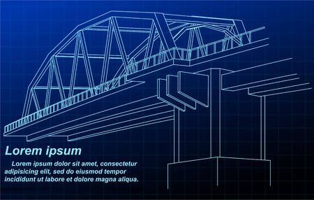 Drawn bridge of outline on blueprint background