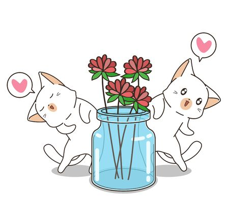 Hand drawn cute cats and flower in the bottle  イラスト・ベクター素材