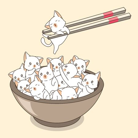 Hand drawn cute cats in the bowl with chopsticks
