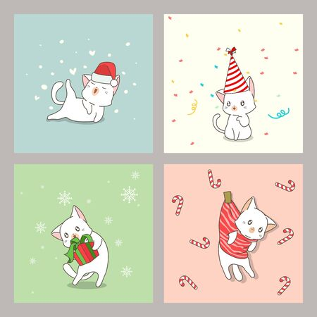 Hand drawn cute cat cards in Christmas day