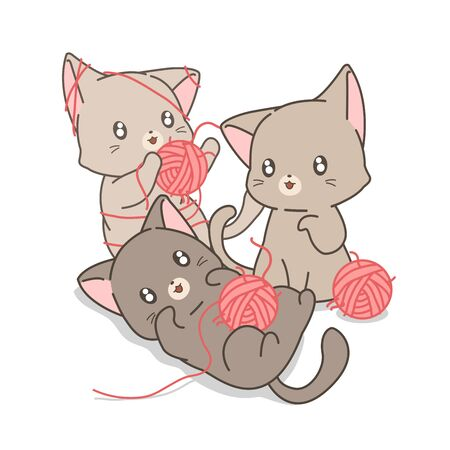 Hand drawn cute cats are playing pink yarns and threads