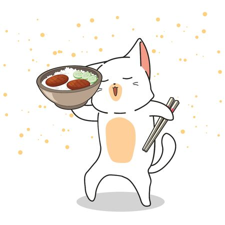 Hand drawn cute cat is holding a bowl of rice with meat