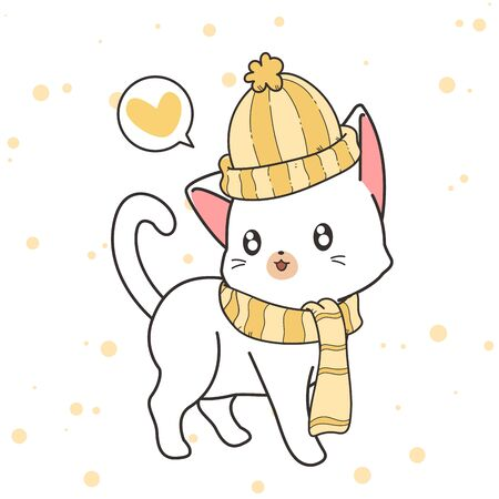 Hand drawn cute cat is wearing a hat and scarf