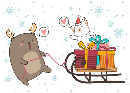 Adorable reindeer is dragging a sleigh vehicle with cat and gift boxes