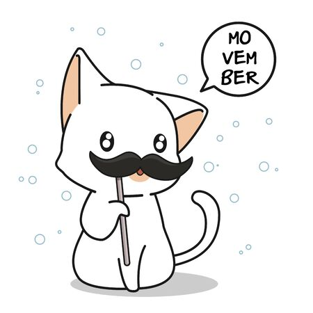 Adorable cat in Movember day Çizim