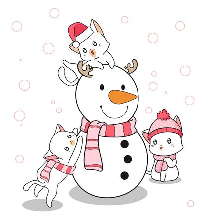 Adorable cat and snowman characters in cartoon style