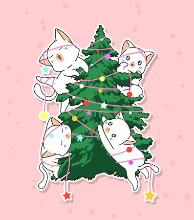 adorable cat characters with a Christmas tree Ilustração