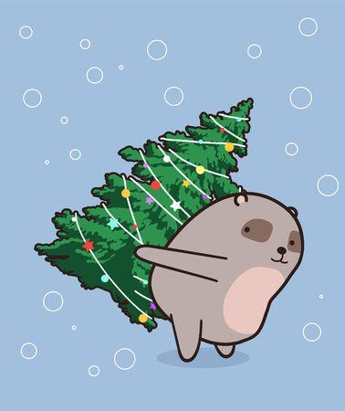 Adorable bear is lifting a Christmas tree