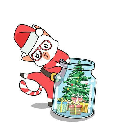 Adorable Santa cat and Christmas day in the bottle 向量圖像