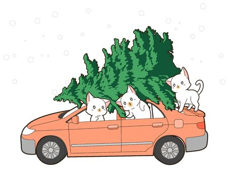 Cute cats and Christmas tree