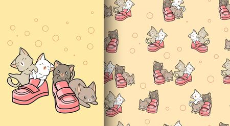 Seamless pattern cats with shoes