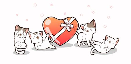 Banner adorable cats and jelly heart with bow