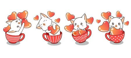 Adorable cat and hearts inside a cup in Valentines day