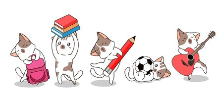 Kawaii cat characters back to school