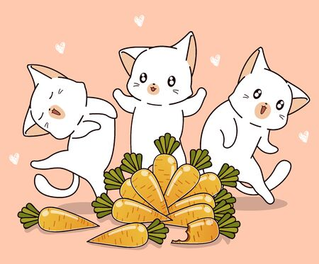 Cute cats and carrots cartoon in spring day