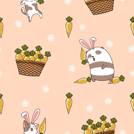 Seamless pattern bunnies with carrots in spring day