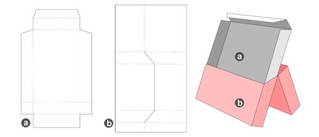 Middle opening packaging box and insert die cut template Illusztráció