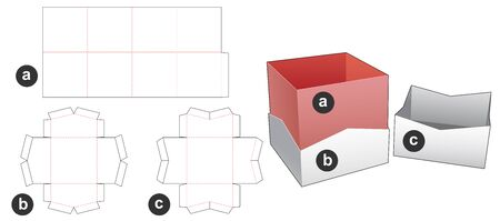 Packaging  box with base and lid die cut template Illusztráció